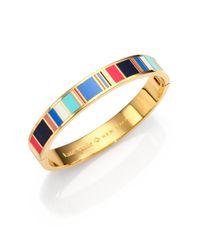 kate spade new york - Multicolor Jump For Joy Enamel Striped Idiom Bangle Bracelet - Lyst
