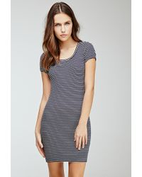 ac0c83fdca Lyst - Forever 21 Ribbed Striped Bodycon Dress You ve Been Added To ...
