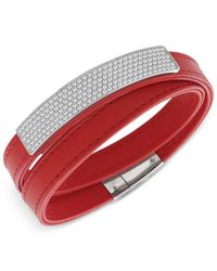 Swarovski - Red Crystal Pavé Soft Leather Wrap Bracelet - Lyst