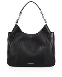 Ferragamo | Black Elle Leather Hobo Bag | Lyst