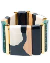 Marni | Natural Beige Resin And Pyrite Bracelet | Lyst