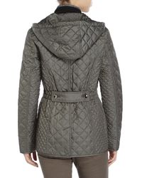 Laundry by Shelli Segal - Green Diamond Quilted Hooded Jacket - Lyst