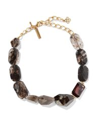 Oscar de la Renta | Metallic Gold-tone, Quartz And Crystal Necklace | Lyst