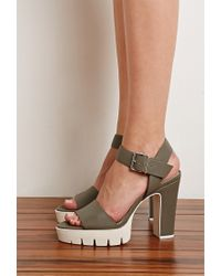 Forever 21 - Gray Lug Sole Platform Sandals You've Been Added To The Waitlist - Lyst