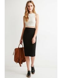 Forever 21 | Black Classic Knit Pencil Skirt You've Been Added To The Waitlist | Lyst