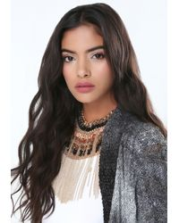 Bebe - Metallic Bead & Fringe Necklace - Lyst