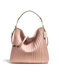 COACH | Pink Madison Hobo in Pintuck Leather | Lyst
