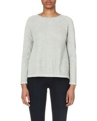 French Connection - Gray Heatwave Dinka Ribbed-knit Cotton Jumper - Lyst
