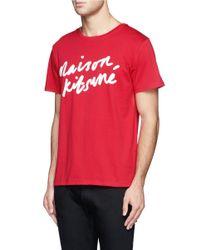 Maison Kitsuné - Red Logo Cotton T-shirt for Men - Lyst