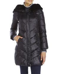 T Tahari - Black Faux Fur Trim Down Coat - Lyst
