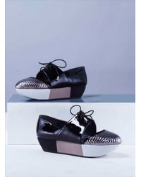 Joanne Stoker - Ivan Black & Silver Leather Flatform Shoes - Last Pair By - Lyst