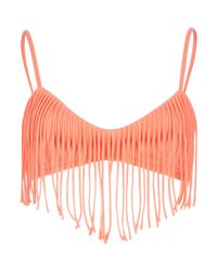 River Island - Red Coral Fringed Push-up Cami Bikini Top - Lyst