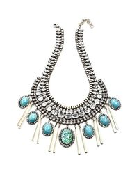 DANNIJO | Blue 'costella' Frontal Necklace - Turquoise/ Silver | Lyst