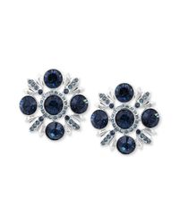 Givenchy | Blue Silvertone Swarovski Montana and Indicolite Crystal Clip Button Earrings | Lyst