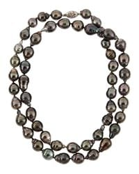 Belpearl - Black Off Round Tahitian Pearl Princess Necklace - Lyst