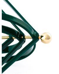 MSGM - Green Geometric Clip-on Earrings - Lyst