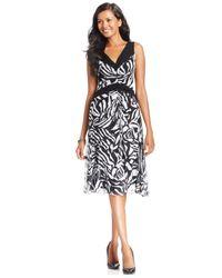 Nine West - Black Ruched Chiffon Sleeveless Dress - Lyst