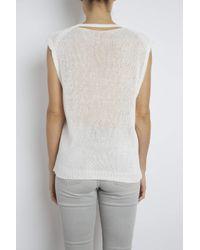 INHABIT | White Slashed Neck Cotton Tank | Lyst