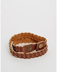 ASOS - Brown Leather Plaited Bracelet for Men - Lyst