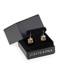 Judith Ripka | Orange Canary Crystal Cushion Earrings | Lyst