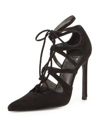 Stuart Weitzman | Black Excite Suede Lace-up Pumps | Lyst