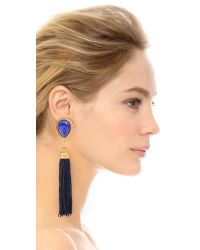 Ben-Amun - Blue Fringed Tassel Clip On Earrings - Lyst