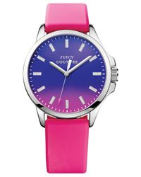 Juicy Couture - Women'S Jetsetter Hot Pink Silicone Strap Watch 38Mm 1901164 - Lyst