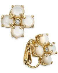 kate spade new york | Metallic 14k Gold-plated Mother-of-pearl And Crystal Clip-on Earrings | Lyst