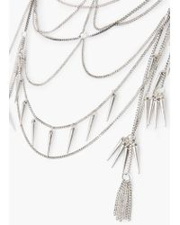 Mango - Metallic Spike Waterfall Necklace - Lyst