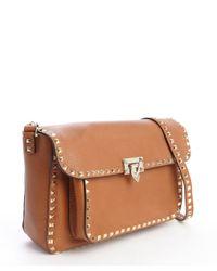 Valentino - Brown Beige Leather Tassel Detail Gold Stud Detail Shoulder Bag - Lyst