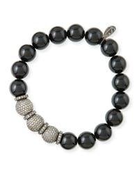 Sheryl Lowe - Black 10mm Onyx & Pave Diamond Bracelet - Lyst