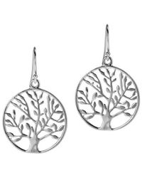 Aeravida | Metallic Flourishing Spring Tree Of Life Leaf .925 Silver Dangle Earrings | Lyst