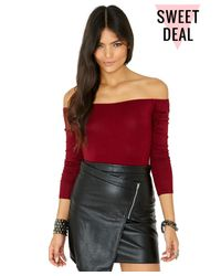 Missguided | Purple Dominica Value Bardot Bodysuit In Burgundy | Lyst