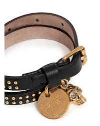 Alexander McQueen | Black Skull Charm Double Wrap Stud Leather Bracelet | Lyst