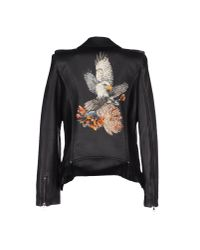 Balmain | Black Printed Leather Jacket | Lyst