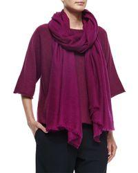 Eskandar - Purple Large Cashmere Fringe Scarf - Lyst