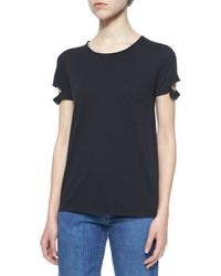 Helmut Lang | Black Split-sleeve Pocket Tee | Lyst