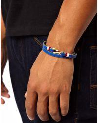 Stussy | Blue Leather Hook Wrap Bracelet for Men | Lyst