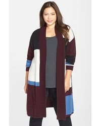 Caslon - Gray Patterned Open Front Cardigan - Lyst
