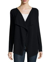 Neiman Marcus | Black Draped Cardigan With Chain Trim | Lyst