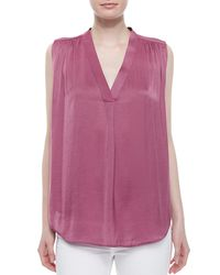 Vince - Purple V-neck Ruched-shoulder Blouse - Lyst