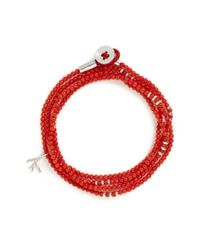 Isaia | Red 'saracino' Bead Wrap Bracelet | Lyst