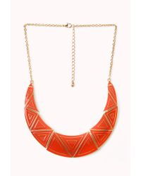 Forever 21 - Orange Standout Lacquered Geo Bib Necklace - Lyst