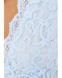 Missguided - Aleena Eyelash Lace Plunge Neck Puffball Mini Dress In Baby Blue - Lyst