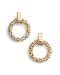Anne Klein | Metallic Beaded Hoop Stud Earrings | Lyst