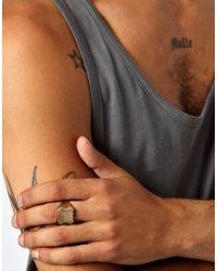 ASOS - Metallic Skool Ov Jenius By Lovebullets Square Shield Ring Exclusive To Asos for Men - Lyst