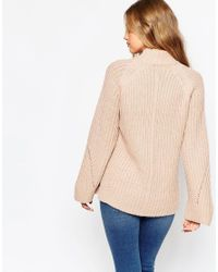 ASOS - Natural Chunky Jumper With High Neck And Moving Rib - Lyst