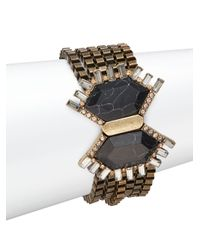 Saks Fifth Avenue - Metallic Pavé & Black Howlite Multi-chain Bracelet - Lyst