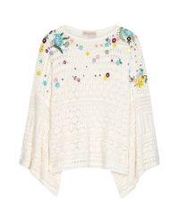 Emilio Pucci | Multicolor Embroidered Crochet-Knit Poncho | Lyst