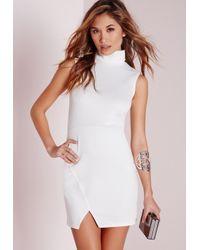 Missguided - Roll Neck Wrap Hem Bodycon Dress White - Lyst